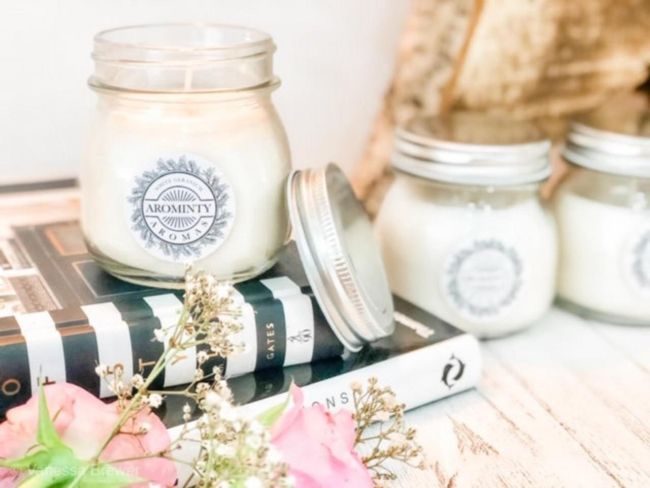 Soy Wax White Geranium Candle Vegan Natural Gift